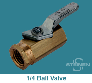 Steinen, Ball Valve, 1/4 inch, Teflon Seat, Buna-N Seals, Brass