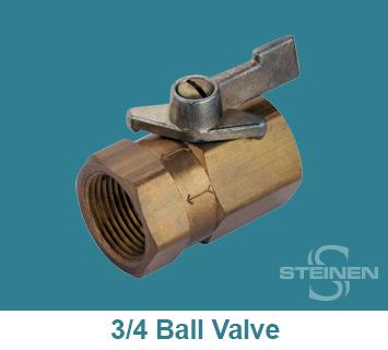 Steinen, Ball Valve, 3/4 inch, Teflon Seat, Buna-N Seals, Brass
